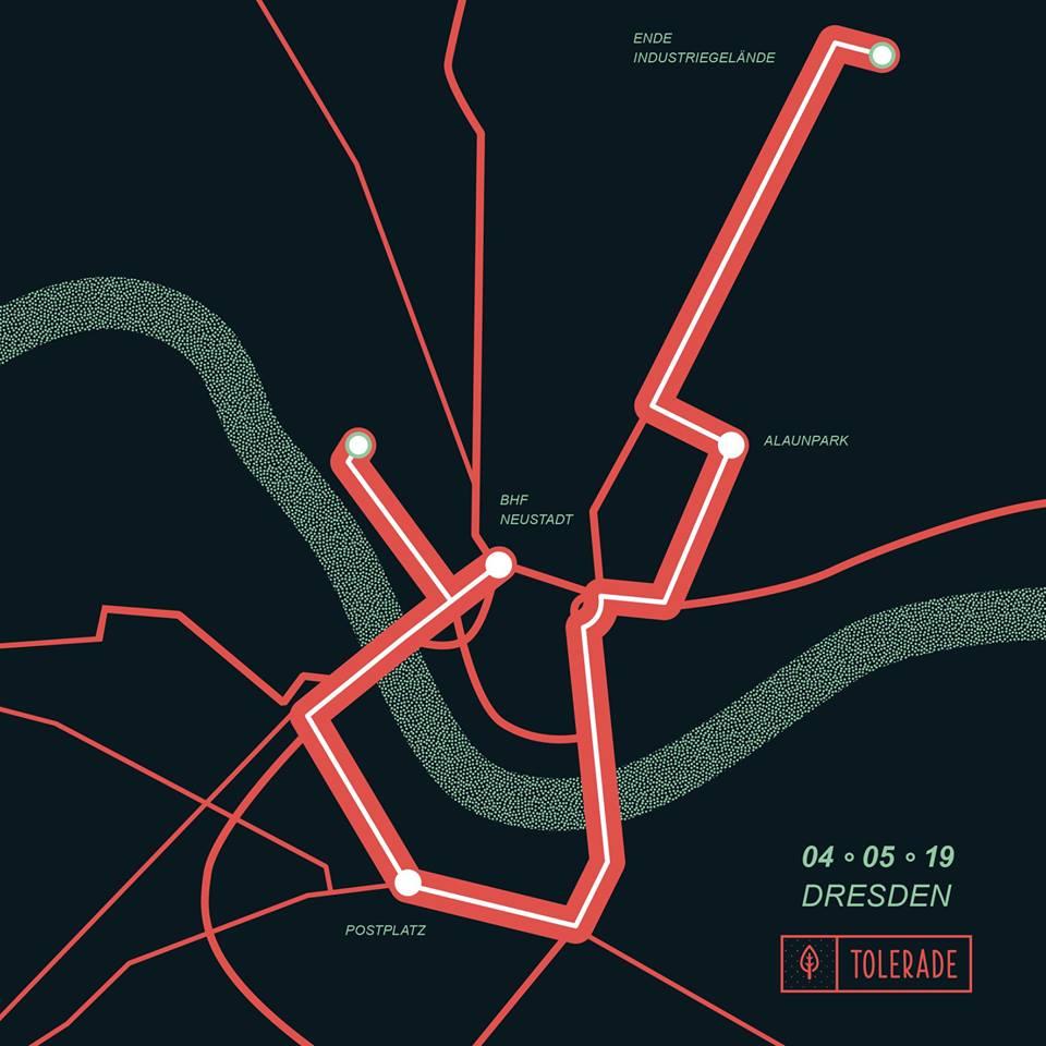 Tolerade 2019 | Strecke | Dresden | Alaunpark, Postplatz, BHF Neustadt, Industriegelände
